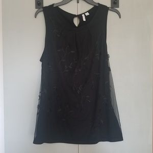 Elle Black Tank Top with Floral Design